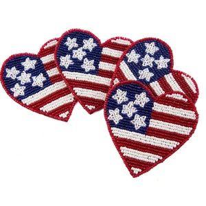 Beaded Heart Flag coasters